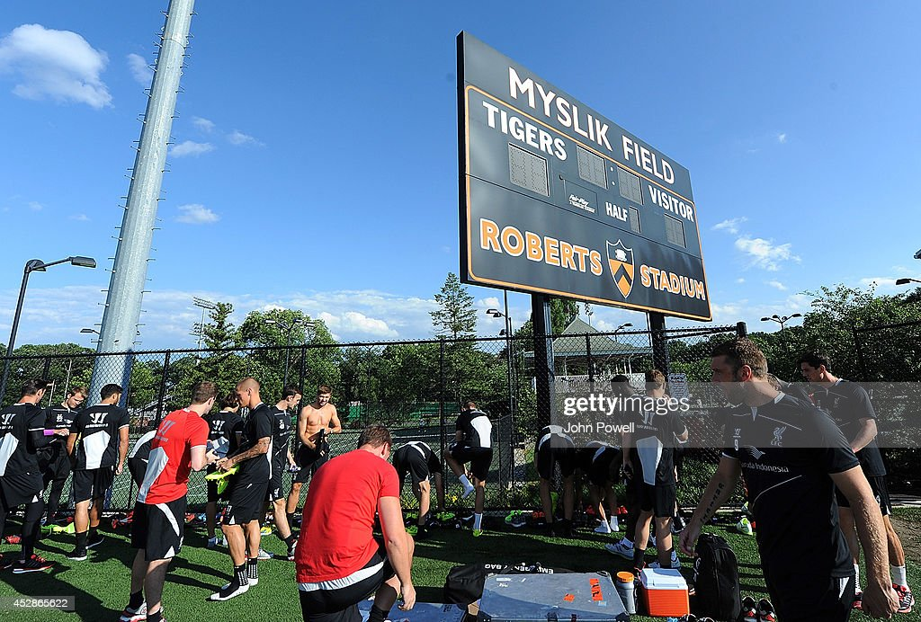 Players of Liverpool get ready for a training session at Princeton University on July 28, 2014 in Princeton, New Jersey.