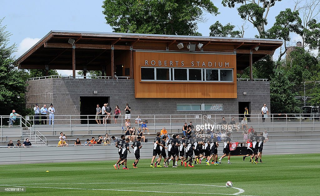 Players of Liverpool in action during a training session at Princeton University on July 29, 2014 in Princeton, New Jersey.