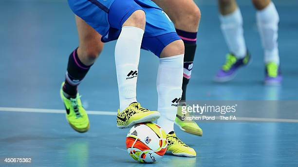 Players of Loughborough Students and Manchester Futsal Club in action during their semi final match of the FA Futsal Cup at the Copper Box Arena on...