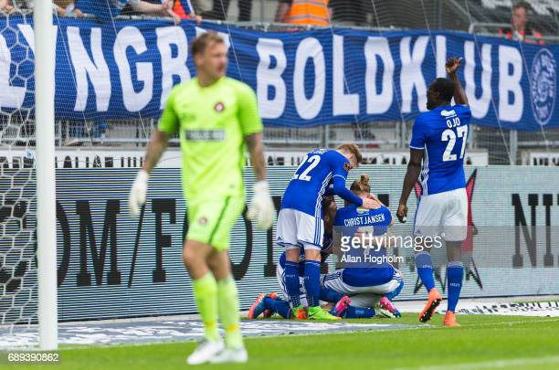 Players of Lyngby Boldklub celebrates after scoring their second goal during the Danish Alka Superliga match between FC Midtjylland and Lyngby BK at...