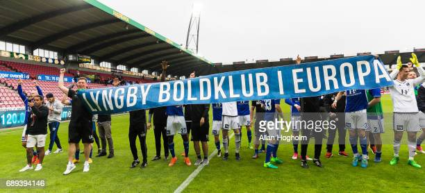 Players of Lyngby Boldklub celebrates their victory after the Danish Alka Superliga match between FC Midtjylland and Lyngby BK at MCH Arena on May 28...