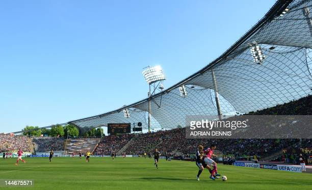Players of Lyon and Frankfurt vie for the ball during the UEFA Women's Champions League final football match of Olympique Lyonnais vs 1 FFC Frankfurt...