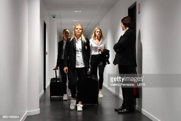 Players of Lyon arrive at their dressing room ahead the UEFA Women's Champions League Round of 32 Second Leg match between Lyon and Medyk Konin at...