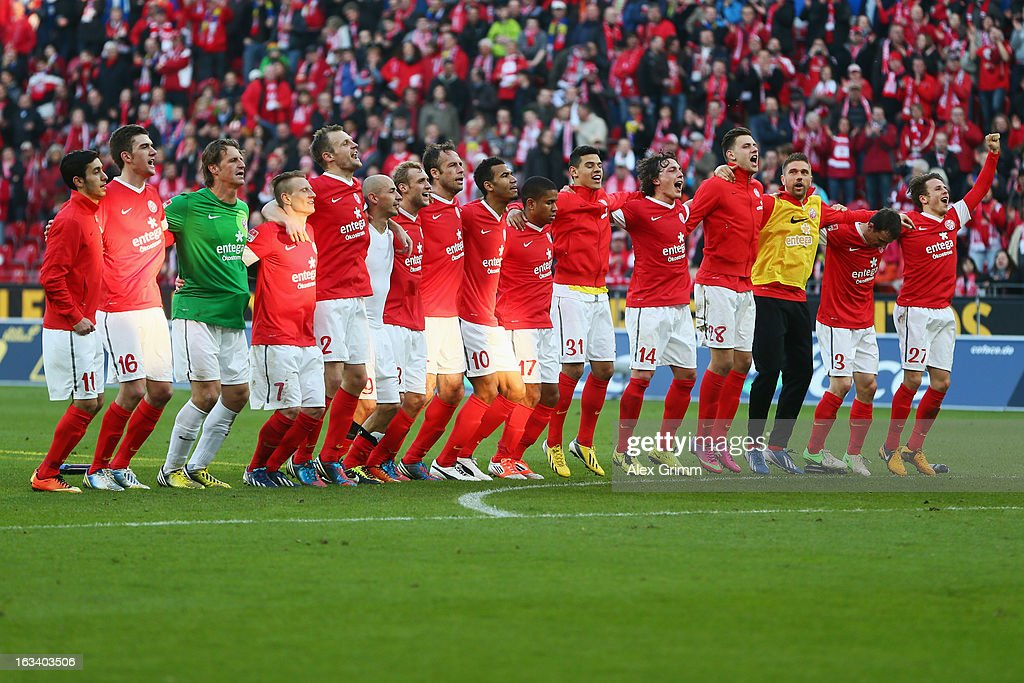 Players of Mainz celebrate after the Bundesliga match between 1. FSV Mainz 05 and Bayer 04 Leverkusen at Coface Arena on March 9, 2013 in Mainz, Germany.