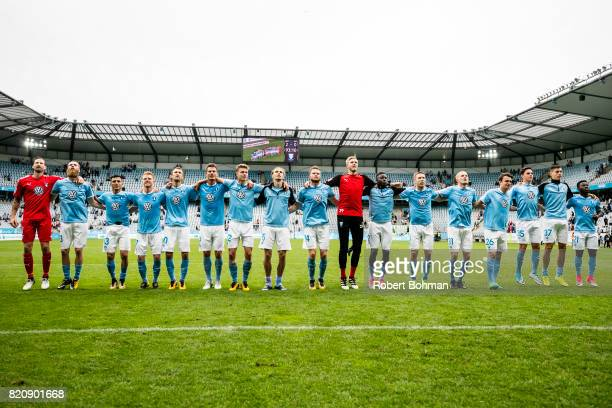 Players of Malmo FF celebrates after match during the Allsvenskan match between Malmo FF and Jonkopings Sodra IF at Swedbank Stadion on July 22 2017...