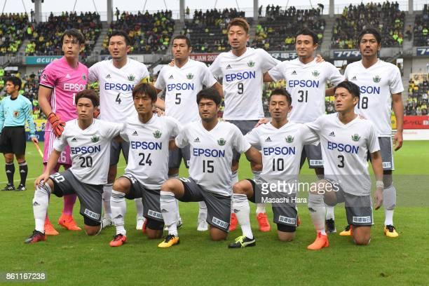 Players of Matsumoto Yamaga pose for photograph prior to the JLeague J2 match between JEF United Chiba and Matsumoto Yamaga at Fukuda Denshi Arena on...