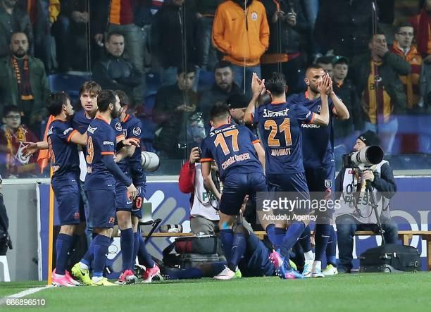 Players of Medipol Basaksehir celebrate after scoring a goal during the Turkish Spor Toto Super Lig football match between Medipol Basaksehir and...