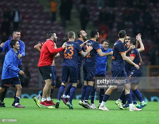 Players of Medipol Basaksehir celebrate their victory after the Turkish Spor Toto Super League soccer match between Galatasaray SK and Medipol...