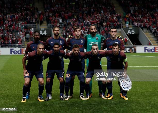 Players of Medipol Basaksehir pose for a photo ahead of the UEFA Europa League Group C match between Sporting Braga and Medipol Basaksehir at the...