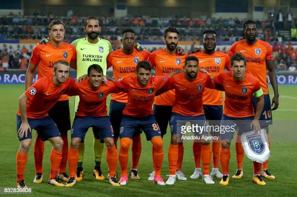 Players of Medipol Basaksehir pose for a photo ahead of the UEFA Champions League playoff match between Medipol Basaksehir and Sevilla FC at...