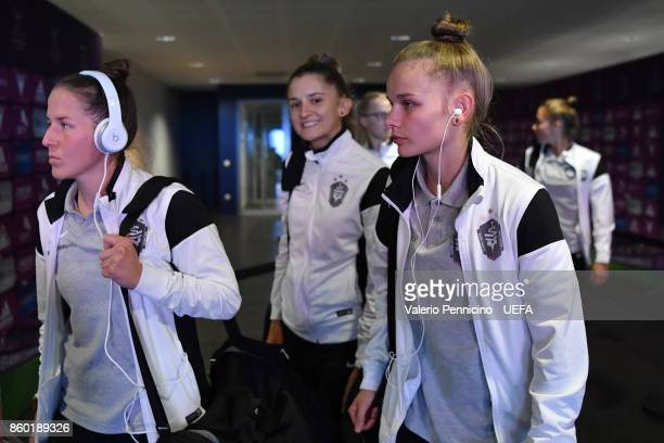 Players of Medyk Konin arrive at their dressing room ahead the UEFA Women's Champions League Round of 32 Second Leg match between Lyon and Medyk...