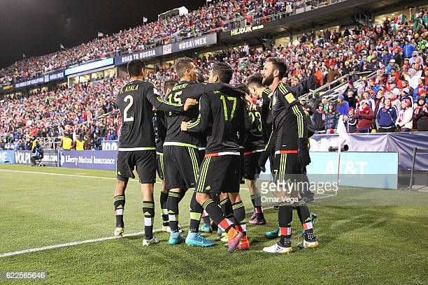Players of Mexico celebrate their second and winning goal during the match between USA and Mexico as part of FIFA 2018 World Cup Qualifiers at MAPFRE...