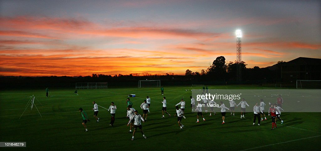 Players of Mexico during a training session at Waterstone College as part of their preparation for FIFA 2010 World Cup on June 5, 2010 in Johannesburg, South Africa.