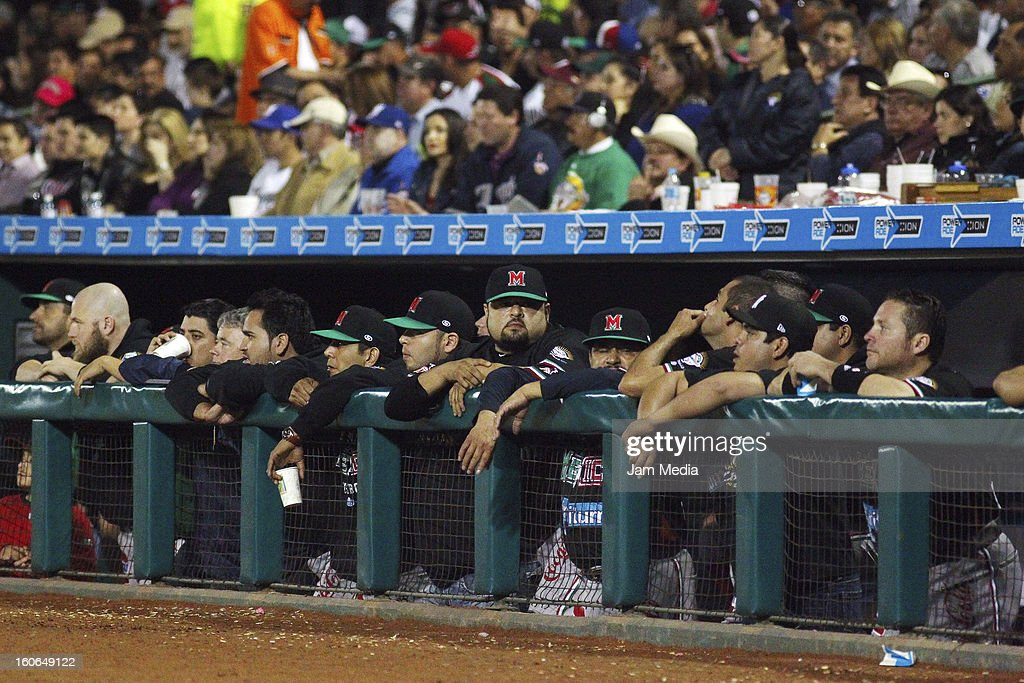 Players of Mexico looks on during the Caribbean Series Baseball 2013 in Sonora Stadium on February 2, 2013 in Hermosillo, Mexico.