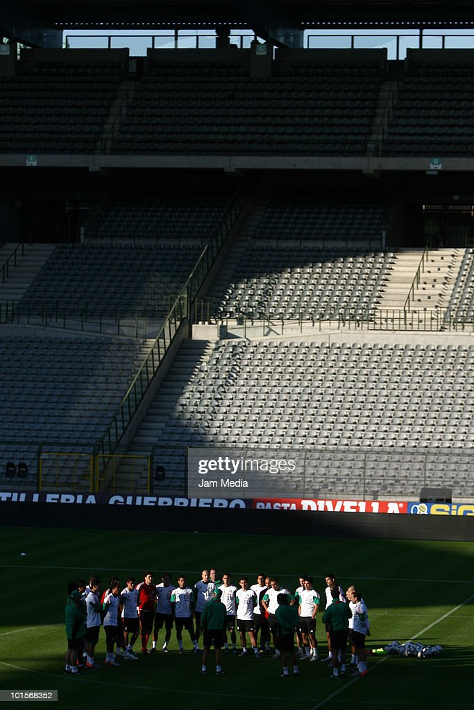 BRUSSELS, BELGIUM - JUNE 2. Players of Mexico national Team gathered on the pitch during a training session as part of their preparation for FIFA 2010 World Cup at King Baudoin Stadium, on June 2, 2010 in Brussels, Belgium.