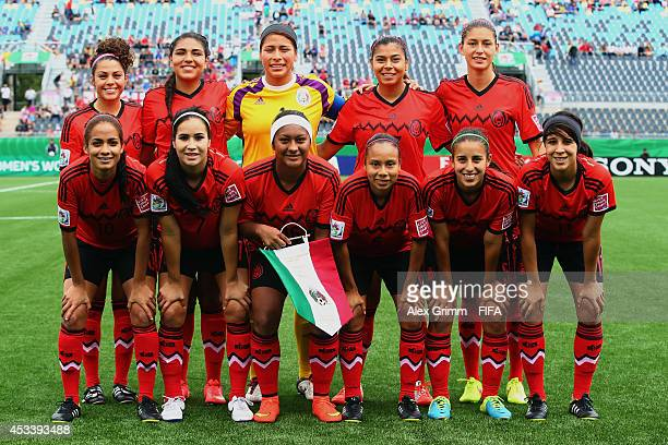 Players of Mexico pose for a team photo prior to the FIFA U20 Women's World Cup Canada 2014 group C match between England and Mexico at Moncton...