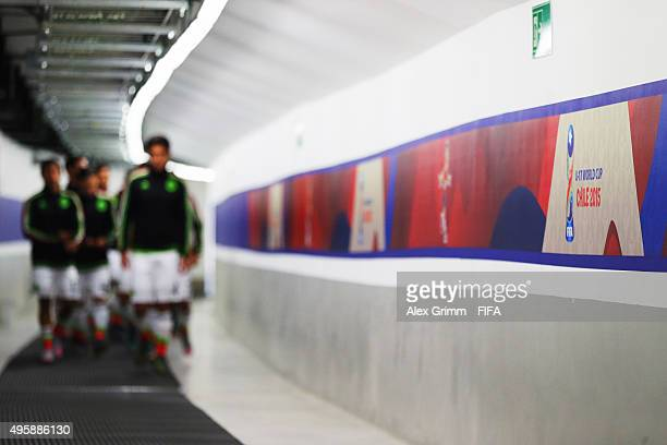 Players of Mexico walk in the tunnel prior to the FIFA U17 World Cup Chile 2015 Semi Final match between Mexico and Nigeria at Estadio Municipal de...