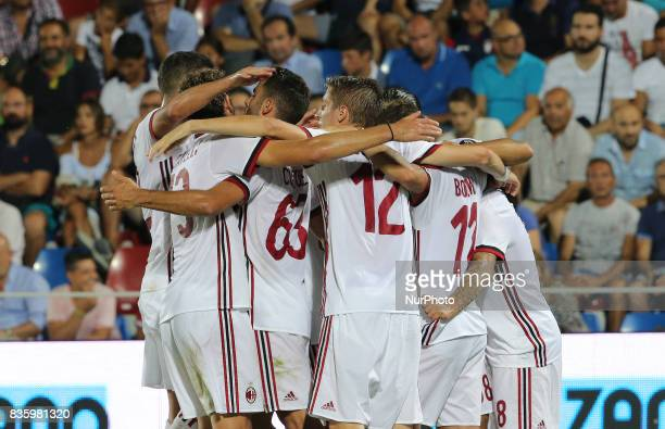 Players of Milan celebrate after scoring during the Serie A match between FC Crotone and AC Milan on August 20 2017 in Crotone Italy