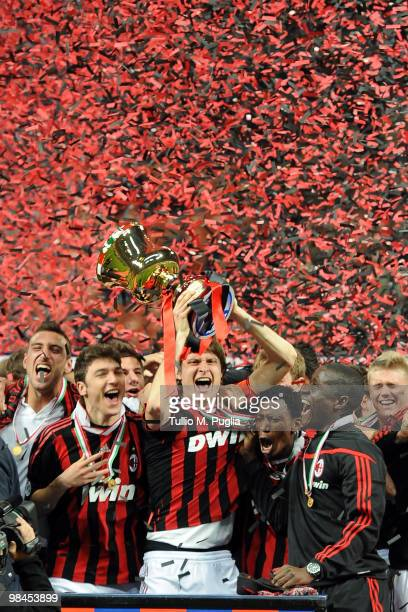Players of Milan celebrate after winning the Primavera Tim Cup between AC Milan and US Citta di Palermo at Stadio Giuseppe Meazza on April 14 2010 in...