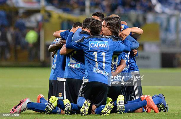 Players of Millonarios celebrate a goal during a match between Patriotas FC and Millonarios as part of Liga Aguila II 2015 at Metropolitano de Techo...