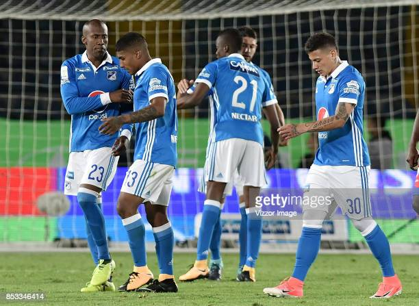 Players of Millonarios celebrate after a match between Millonarios and Deportivo Pasto as part of Liga Aguila II at the Nemesio Camacho Stadium on...