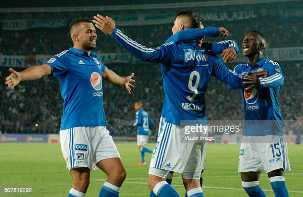Players of Millonarios celebrates after scoring a goal during a match between Millonarios and Patriotas FC as part of the Aguila League I 2016 at...