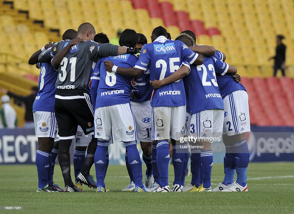 Players of Millonarios gather together during a match between Millonarios and Equidad as part of the Liga Postobon 2013 at Nemesio Camacho Stadium on February 03, 2013 in Bogota, Colombia.