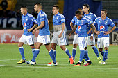 Players of Millonarios look dejected after a match between Millonarios and Once Caldas as part of round 11 of Liga Aguila II 2016 at Nemesio Camacho...