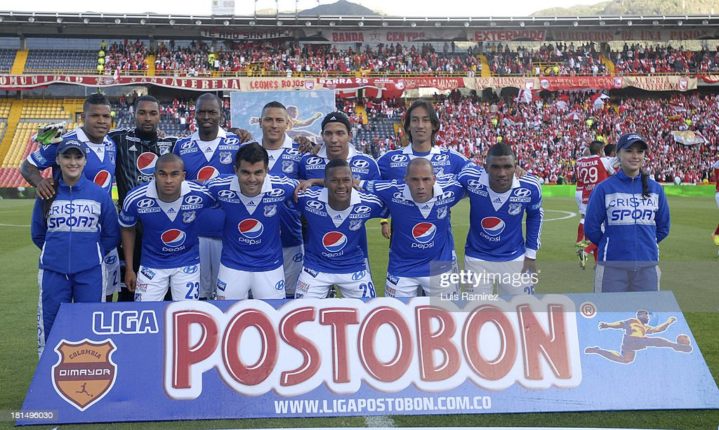 Players of Millonarios pose before a match between Independiente Santa Fe and Millonarios as part of the Liga Postobon II at Nemesio Camacho Stadium on September 21, 2013 in Bogota, Colombia.