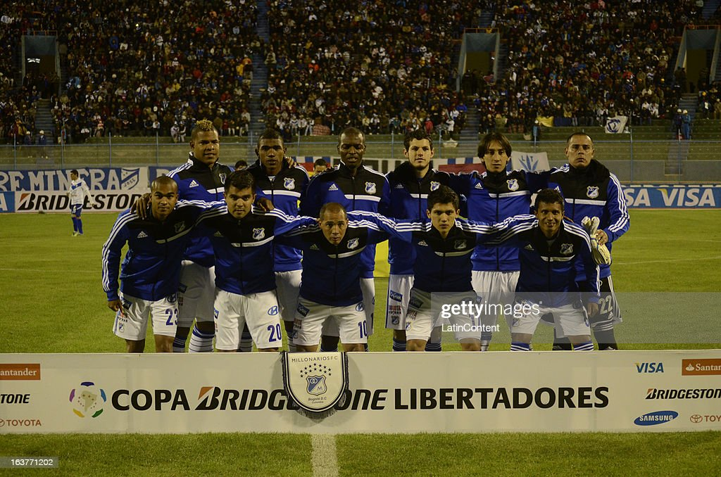 Players of Millonarios pose before a match between Millonarios and San Jose as part of Copa Bridgestone Libertadores 2013 at Jesús Bermúdez Stadium on March 14, 2013 in San Jose de Oruro, Bolivia.