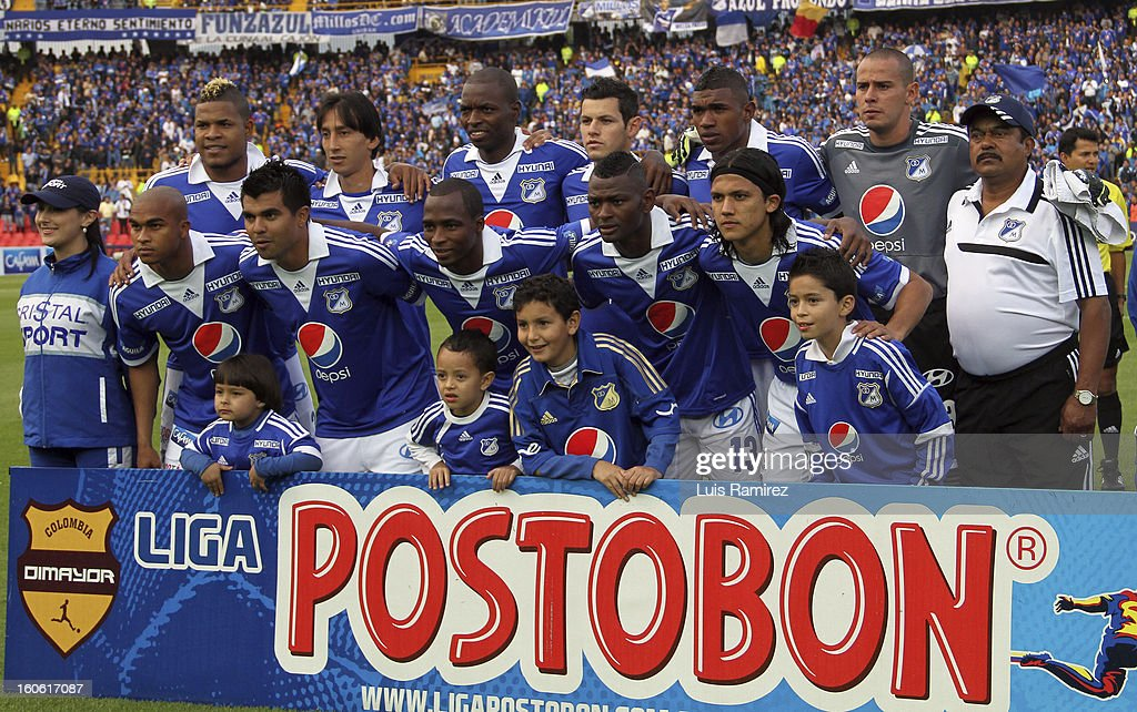 Players of Millonarios pose for a photo prior to a match between Millonarios and Equidad as part of the Liga Postobon 2013 at Nemesio Camacho Stadium on February 03, 2013 in Bogota, Colombia.