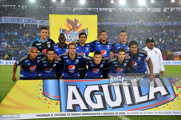 Players of Millonarios pose for a team photo during a match between Millonarios and Patriotas FC as part of second round of Liga Aguila 2015 at...