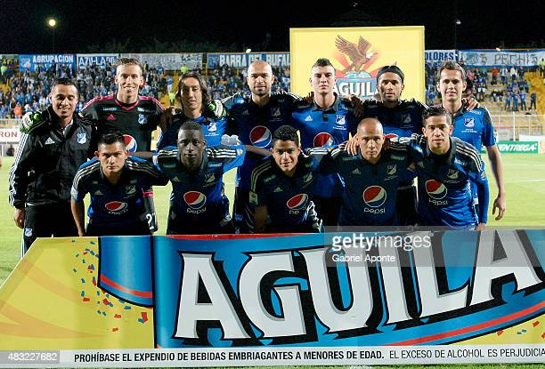 Players of Millonarios pose for photos prior a match between Patriotas FC and Millonarios as part of Liga Aguila II 2015 at Metropolitano de Techo...