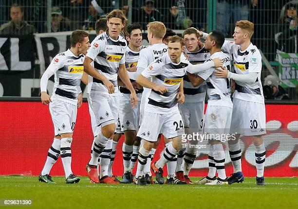 Players of Moenchengladbach celebrate a goal during the Bundesliga match between Borussia Moenchengladbach and 1FSV Mainz 05 at BorussiaPark on...