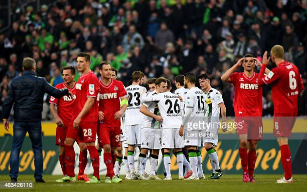 Players of Moenchengladbach celebrate after winning the Bundesliga match between Borussia Moenchengladbach and 1 FC Koeln at Borussia Park Stadium on...