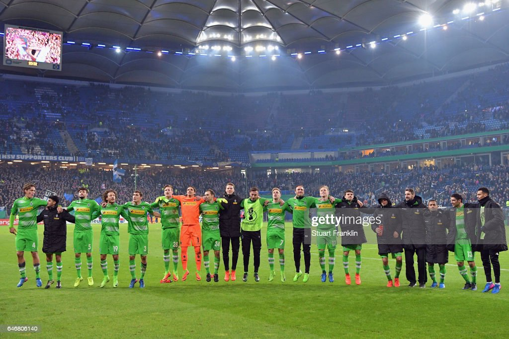 Players of Moenchengladbach celebrate with the fans after the DFB Cup quarter final between Hamburger SV and Borussia Moenchengladbach at Volksparkstadion on March 1, 2017 in Hamburg, Germany.