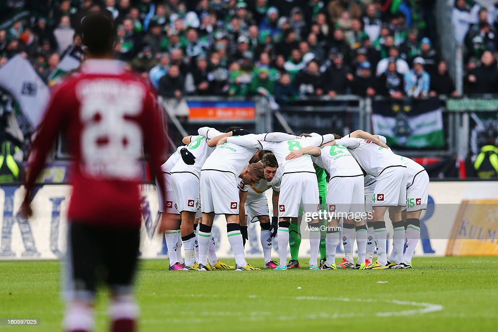 Players of Moenchengladbach huddle before the Bundesliga match between 1. FC Nuernberg and VfL Borussia Moenchengladbach at Easy Credit Stadium on February 3, 2013 in Nuremberg, Germany.