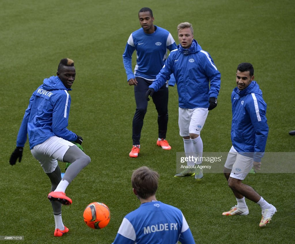Players of Molde FK are seen during a training session of his team at the Aker Stadium ahead of the UEFA Europa League Group A match between Molde...