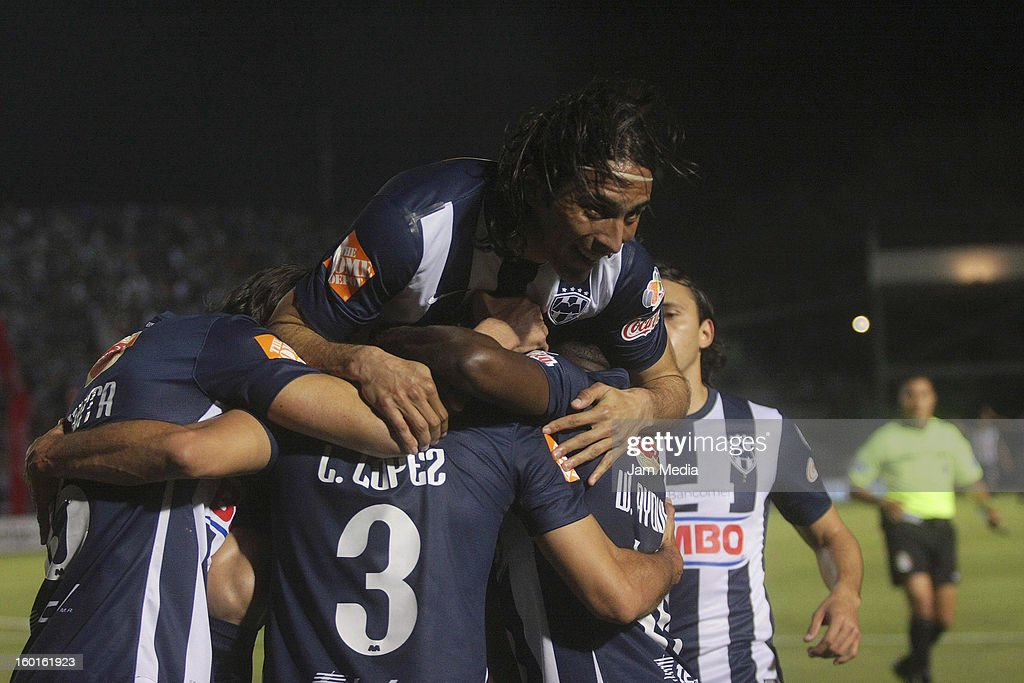 Players of Monterrey celebrate a goal against San Luis during a match between Monterrey v San Luis as part of the Clausura 2013 Liga MX at...