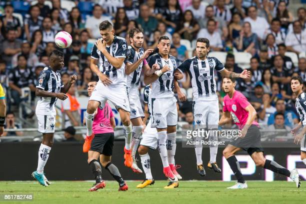 Players of Monterrey try to block a free kick during the 13th round match between Monterrey and Pachuca as part of the Torneo Apertura 2017 Liga MX...