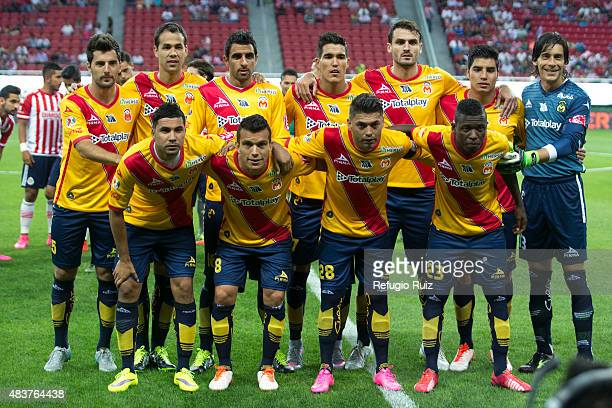 Players of Morelia pose for photos prior a 4th round match between Chivas and Morelia as part of the Apertura 2015 Liga MX at Omnilife Stadium on...