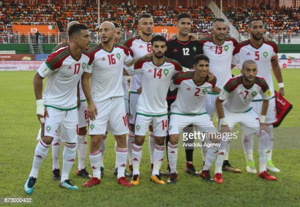 Players of Morocco pose for a photo ahead of the 2018 FIFA World Cup African Qualifying Group C football match between Ivory Coast and Morocco at...