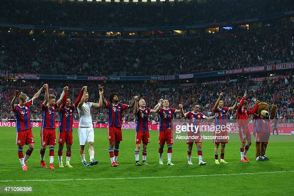 Players of Muenchen celebrate after the Bundesliga match between FC Bayern Muenchen and Hertha BSC Berlin at Allianz Arena on April 25 2015 in Munich...