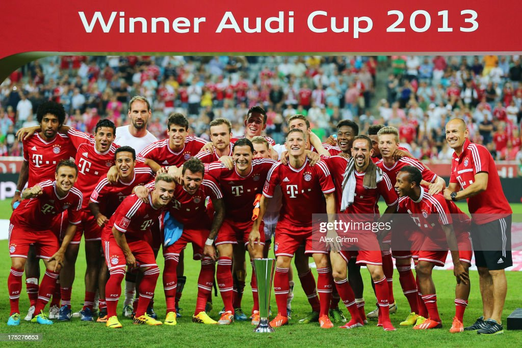 Players of Muenchen celebrate after winning the Audi Cup Final match against Manchester City at Allianz Arena on August 1, 2013 in Munich, Germany.