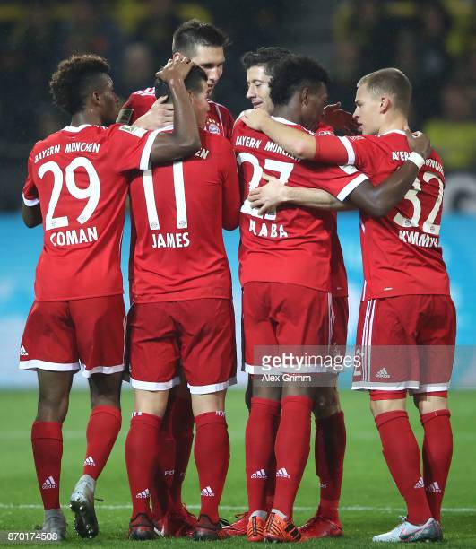 Players of Muenchen celebrate their third goal to make it 03 during the Bundesliga match between Borussia Dortmund and FC Bayern Muenchen at Signal...