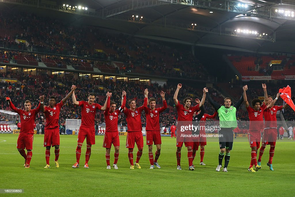Players of Muenchen celebrate victory after winning the Bundesliga match between VfB Stuttgart and FC Bayern Muenchen at Mercedes-Benz Arena on January 27, 2013 in Stuttgart, Germany.