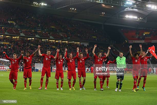 Players of Muenchen celebrate victory after winning the Bundesliga match between VfB Stuttgart and FC Bayern Muenchen at MercedesBenz Arena on...