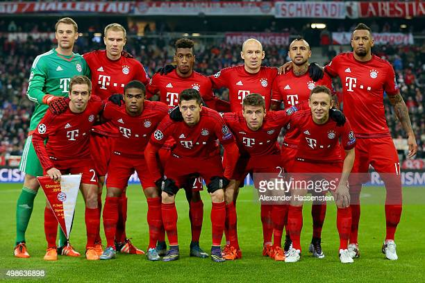Players of Muenchen lines up for the UEFA Champions League Group F match between FC Bayern Muenchen and Olympiacos FC at Allianz Arena on November 24...