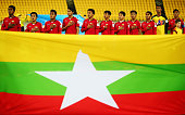 Players of Myanmar sing their national antheim prior to the FIFA U20 World Cup New Zealand 2015 Group A match between Myanmar and new Zealand at...