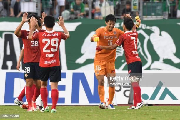 Players of Nagoya Grampus celebrate the win during the JLeague J2 match between FC GIfu and Nagoya Grampus at Nagaragawa Stadium on October 1 2017 in...